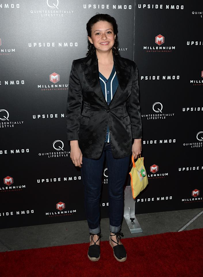 """HOLLYWOOD, CA - MARCH 12:  Actress Alia Shawkat arrives at a special LA screening of Millennium Entertainment's """"Upside Down"""" at ArcLight Hollywood on March 12, 2013 in Hollywood, California.  (Photo by Jason Merritt/Getty Images)"""