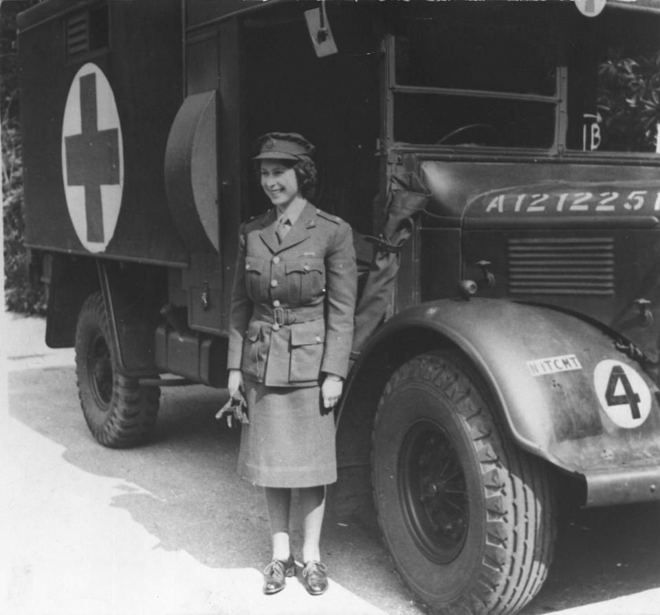 """<p>The entire nation was devoted to the war effort in 1939. While the King and Queen stayed in Buckingham Palace, the princesses were <a href=""""https://www.rct.uk/visit/the-state-rooms-buckingham-palace/who-lived-at-buckingham-palace#/"""" rel=""""nofollow noopener"""" target=""""_blank"""" data-ylk=""""slk:moved to Windsor Castle"""" class=""""link rapid-noclick-resp"""">moved to Windsor Castle</a> for safety. Later, Princess Elizabeth served as a mechanic in the war.</p>"""