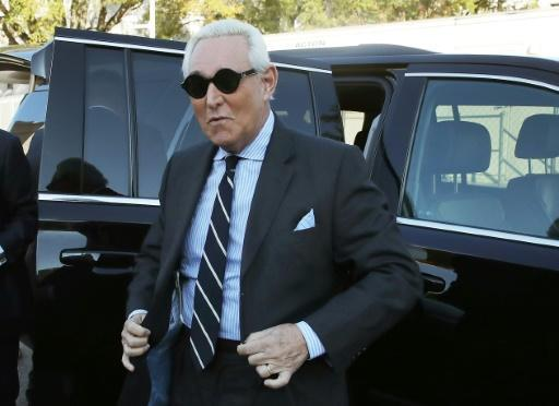 Roger Stone, a former adviser to US President Donald Trump, is seen arriving in November 2019 for his trial in Washington on charges of lying to Congress and witness tampering
