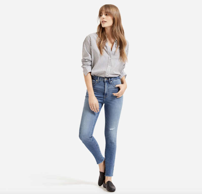 These skinny jeans have a raw hem and a touch of distressed detailing. (Photo: Everlane)