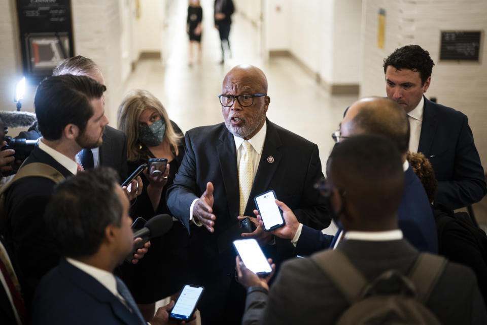 Chairman Rep. Bennie Thompson, departs after the House select committee on the January 6th attack concluded their first hearing with Capitol Hill police witnesses on Capitol Hill on Tuesday, July 27, 2021 in Washington, DC. (Jabin Botsford/The Washington Post via Getty Images)