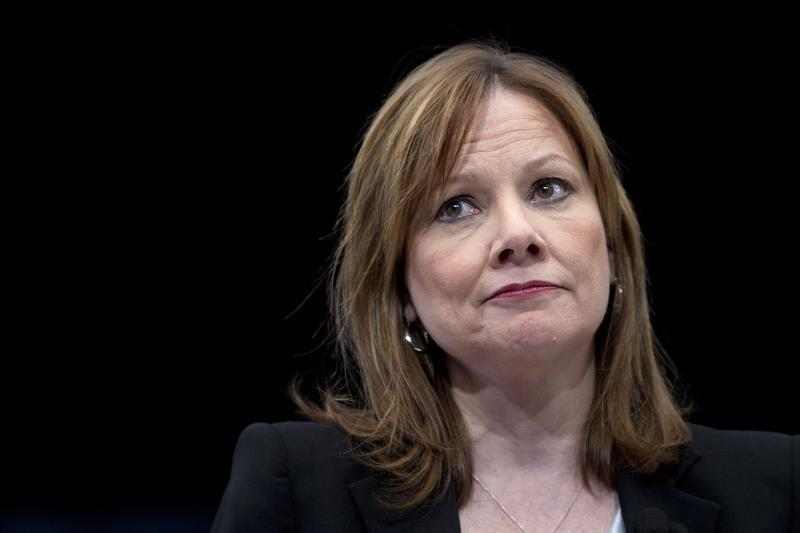 General Motors CEO Mary Barra appears onstage during a launch event for new Chevrolet cars before the New York Auto Show in New York