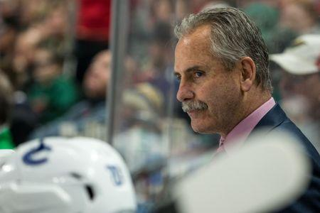 Mar 25, 2017; Saint Paul, MN, USA; Vancouver Canucks head coach Willie Desjardins looks on during the first period against the Minnesota Wild at Xcel Energy Center. The Canucks defeated the Wild 4-2. Mandatory Credit: Brace Hemmelgarn-USA TODAY Sports