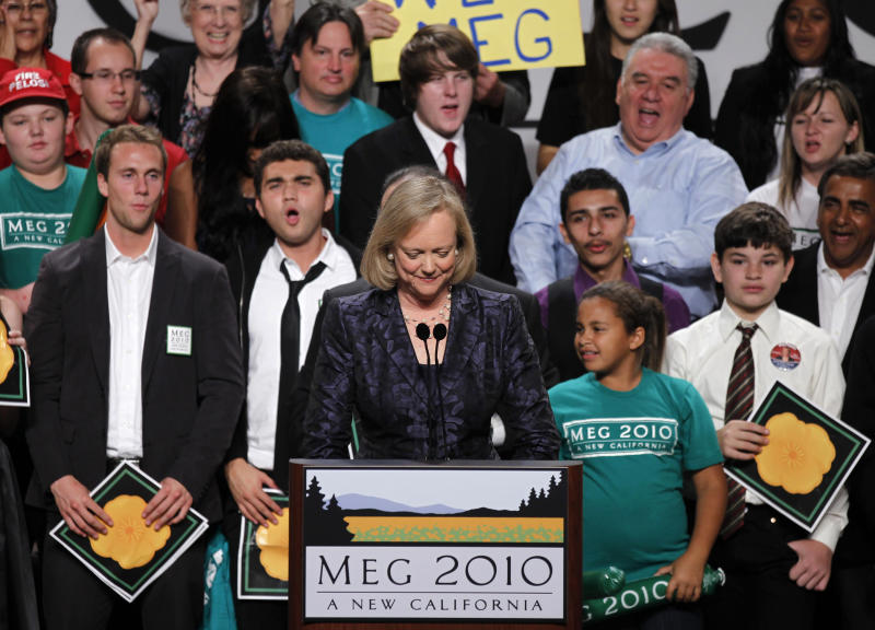 California Republican gubernatorial candidate Meg Whitman concedes to Democratic candidate Jerry Brown as she speaks to supporters during her election night rally in Los Angeles, California, November 2, 2010. REUTERS/Lucy Nicholson (UNITED STATES - Tags: ELECTIONS POLITICS)
