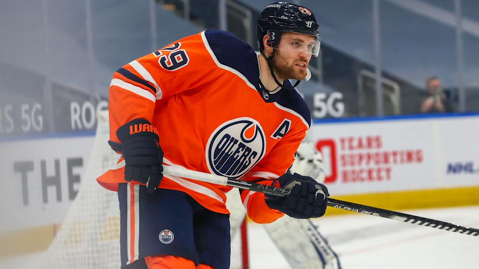 EDMONTON, AB - MARCH 3: Edmonton Oilers Center Leon Draisaitl (29) in action in the first period during the Edmonton Oilers game versus the Toronto Maple Leafs on March 3, 2021 at Rogers Place in Edmonton, AB. (Photo by Curtis Comeau/Icon Sportswire via Getty Images)