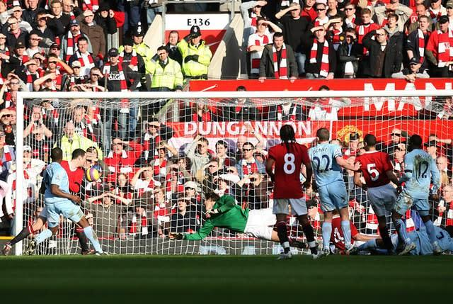 Benjani scored City's second goal as they won at Old Trafford to complete a first league double over United in 37 years (Martin Rickett/PA)