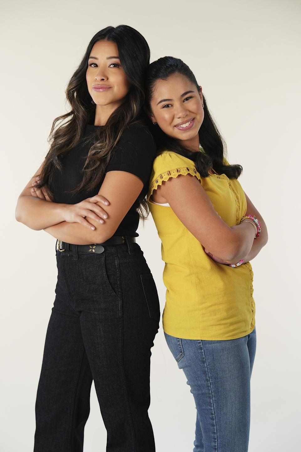 Gina Rodriguez, left, stars as future Elena, while Tess Romero is young Elena Cañero-Reed in Diary of a Future President. (Credit: Disney/Christopher Willard)