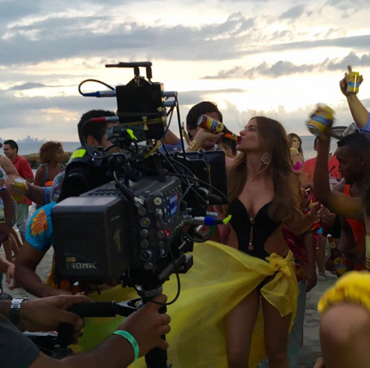 In between eating and hanging with her loved ones, Vergara snuck in some time for work, shooting what looked like the best beer commercial in history. Sporting a cut-out black bathing suit and a bright yellow sarong, the star guzzled beer on the beech as revelers (i.e. extras) partied around her. It might have all been staged, but it looked like a lot of fun just the same. (Photo: Instagram)
