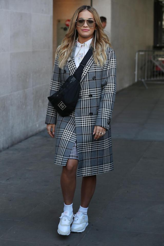 Rita Ora seen at BBC Radio One on Sept.18, 2017 in London, England. (Neil Mockford via Getty Images)