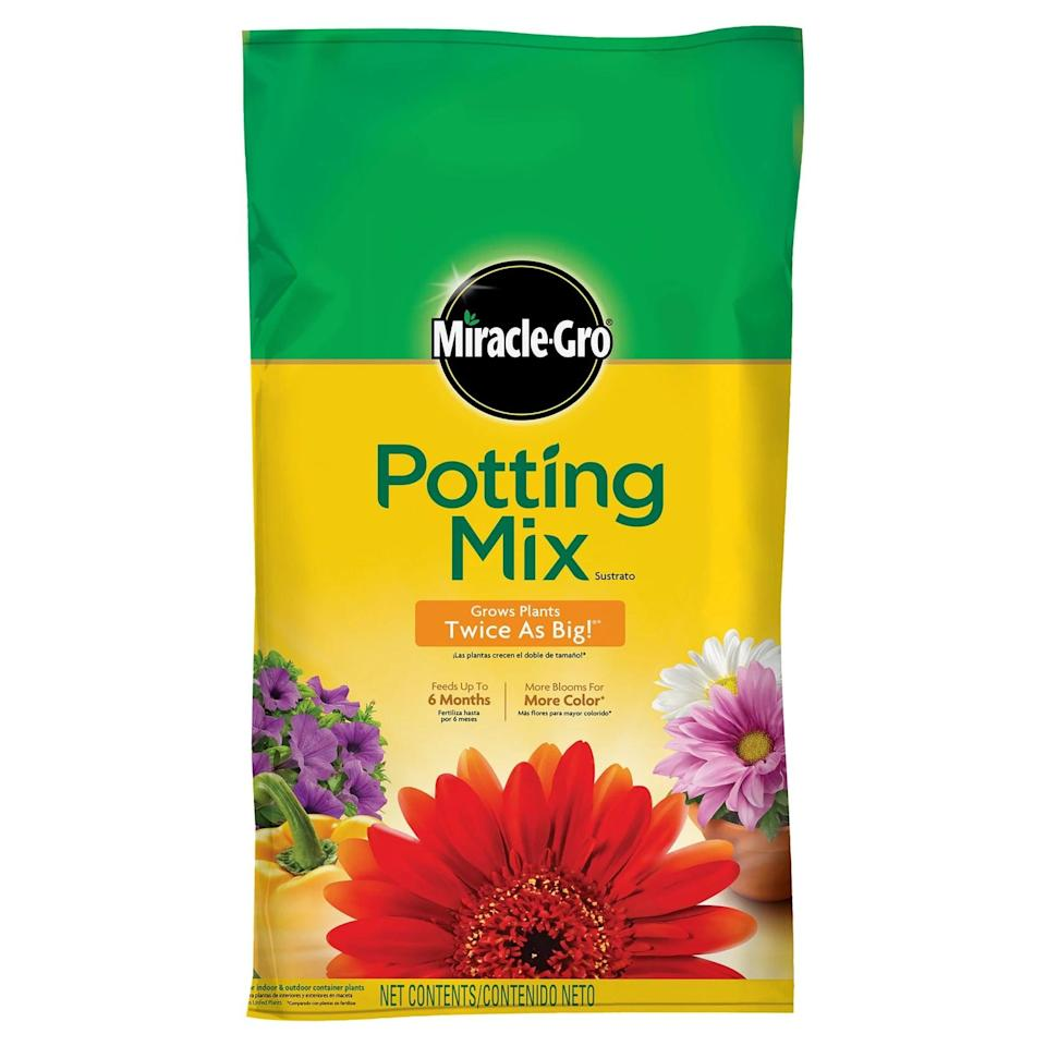 <p>A good <span>Miracle-Gro Premium Potting Mix</span> ($10) is key to optimal growth. It's great for indoor or outdoor plants, and it will help your floral and ferns grow twice as big. The mix includes nutrients that will keep your plants fed for up to 6 months.</p>