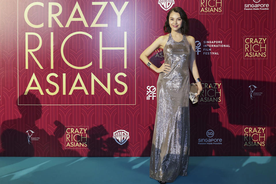 <p>Malaysian actress Carmen Soo poses for photographers at the Singapore premiere of 'Crazy Rich Asians' on 21 August 2018. (PHOTO: Yahoo Lifestyle Singapore) </p>