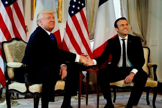 President Trump also met French President Emmanuel Macron in Belgium during a May NATO summit. (Photo: Peter Dejong/Reuters)