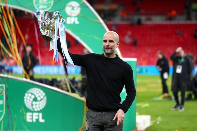 Pep Guardiola lifts the Carabao Cup last season