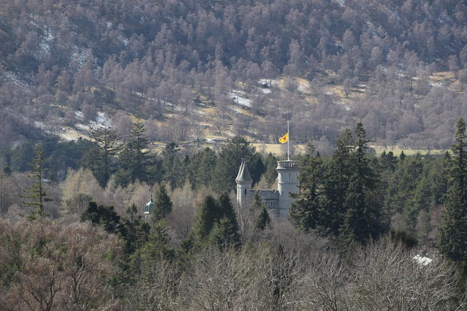 The Lion rampant flies at half mast at Balmoral Castle in Royal Deeside, Aberdeenshire, Scotland, following the announcement of the death of the Duke of Edinburgh, who has died at the age of 99. Picture date: Friday April 9, 2021. (Photo by Jane Barlow/PA Images via Getty Images)