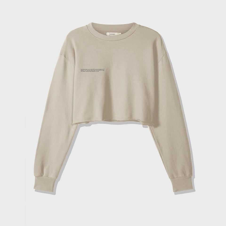 "With its relaxed fit and subtle print, Pangaia's cropped sweatshirt is tailor-made for your eco-conscious friend who runs hot year-round. $120, Pangaia. <a href=""https://thepangaia.com/collections/women-sweatshirts/products/organic-cotton-cropped-sweatshirt-sand"" rel=""nofollow noopener"" target=""_blank"" data-ylk=""slk:Get it now!"" class=""link rapid-noclick-resp"">Get it now!</a>"