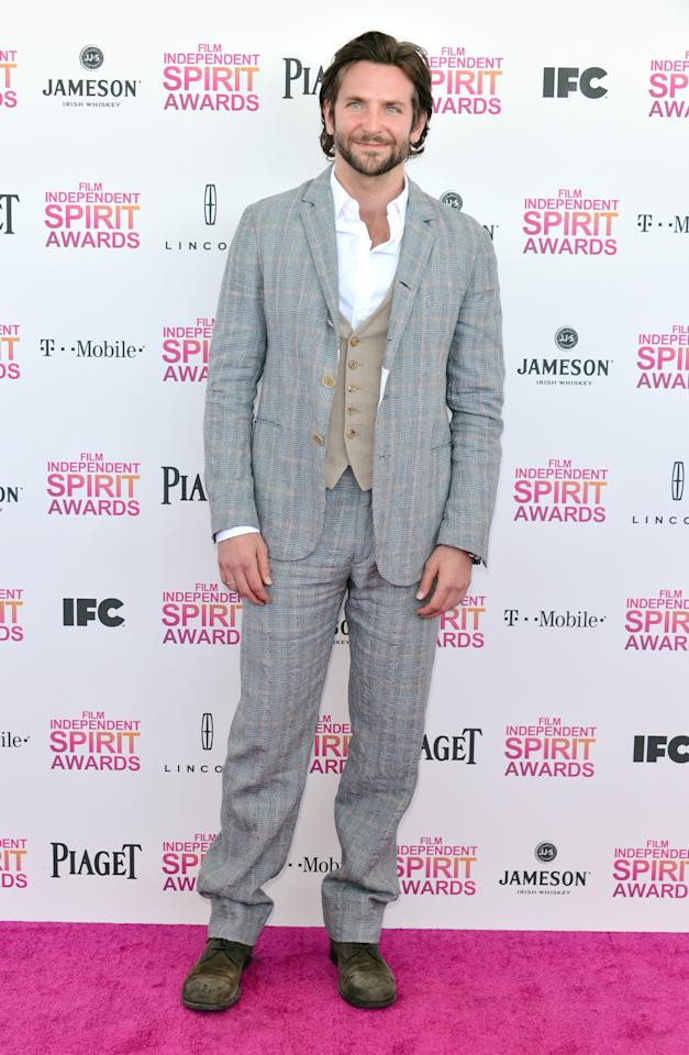Bradley Cooper attends the 2013 Film Independent Spirit Awards at Santa Monica Beach on February 23, 2013 in Santa Monica, California.