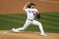 Los Angeles Dodgers starting pitcher Dustin May throws to a San Diego Padres batter during the first inning of a baseball game in Los Angeles, Sunday, April 25, 2021. (AP Photo/Alex Gallardo)