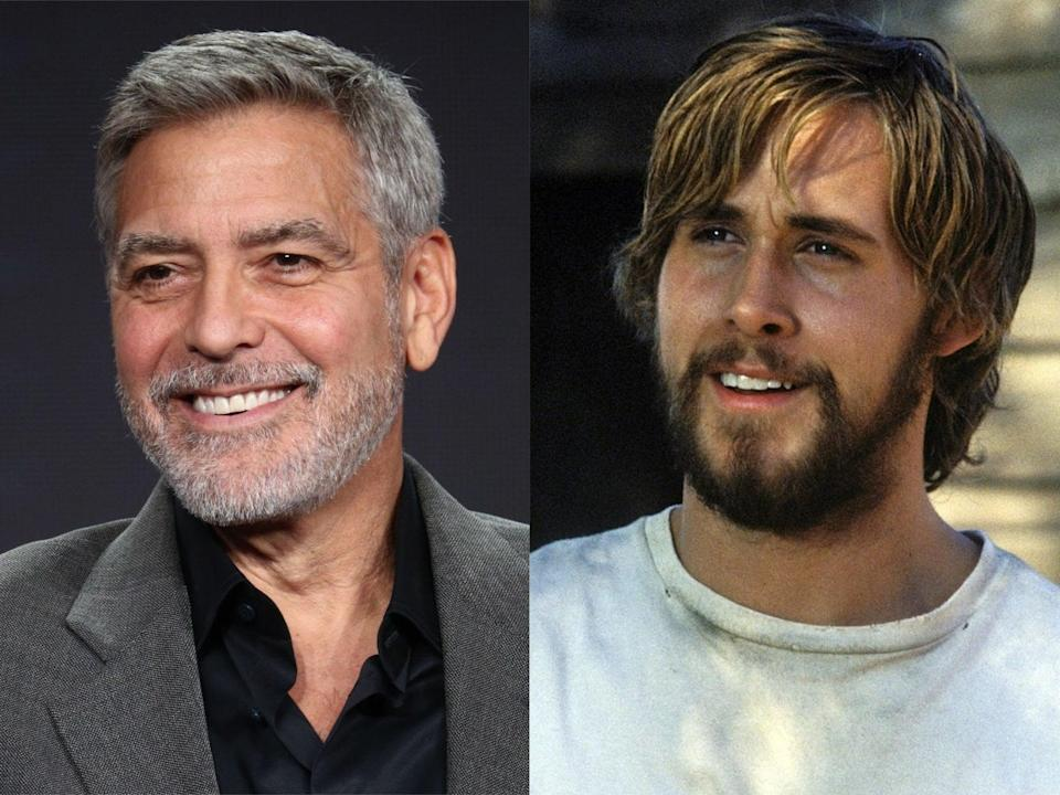 George Clooney in 2019, and Ryan Gosling in 'The Notebook' (Frederick M Brown/Getty Images/New Line Cinema)