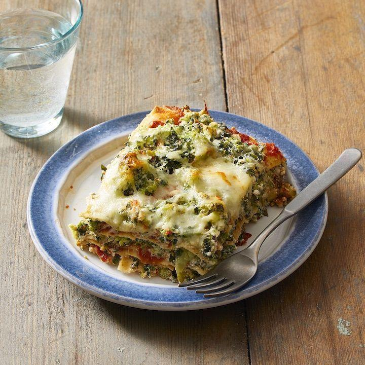 """<p>Frozen veggies make this quite possibly the easiest lasagna ever, without sacrificing that comfort-food flavor that we know and love.</p><p><em><a href=""""https://www.goodhousekeeping.com/food-recipes/a5357/vegetarian-lasagna-1888/"""" rel=""""nofollow noopener"""" target=""""_blank"""" data-ylk=""""slk:Get the recipe for Vegetarian Lasagna With Spinach and Broccoli »"""" class=""""link rapid-noclick-resp"""">Get the recipe for Vegetarian Lasagna With Spinach and Broccoli »</a></em></p>"""