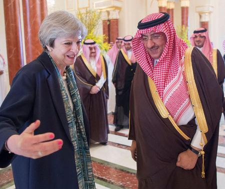 Saudi Arabian Crown Prince Muhammad bin Nayef welcomes British Prime Minister Theresa May in Riyadh