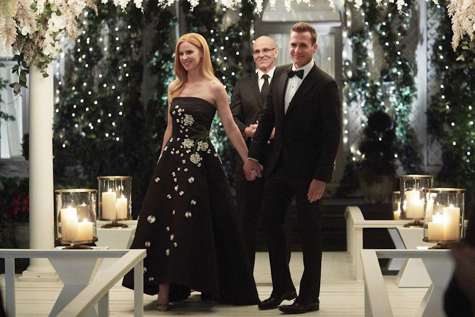 <p>Donna Paulsen didn't intend to wear the strapless black embroidered ball gown for her wedding to Harvey Spector. She had originally worn it as a guest at Shiela and Louis's vows but somehow the unconventional dressed suited the couple's spontaneous vows perfectly. </p>