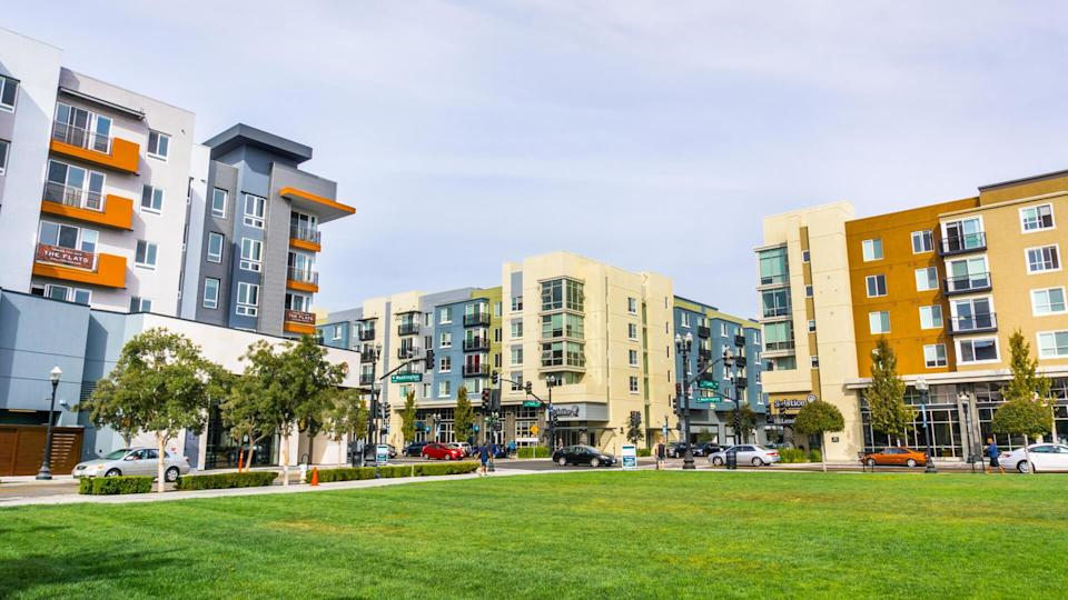 October 29, 2018 Sunnyvale / CA / USA - Urban landscape with newly developed residential buildings in downtown Sunnyvale, south San Francisco bay area, California;.