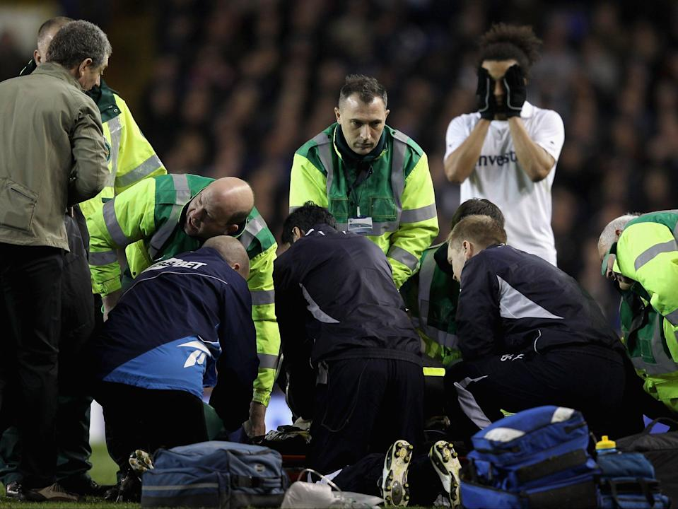 Fabrice Muamba receives CPR after collapsing on the pitch at White Hart Lane on 17 March 2012 (Getty Images)