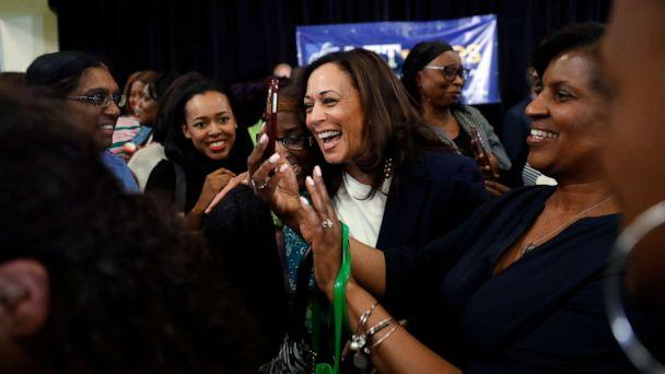 PHOTO: Democratic presidential candidate Sen. Kamala Harris laughs with attendees after a town hall for the American Federation of Teachers in Detroit, May 6, 2019. (Paul Sancya/AP, FILE)