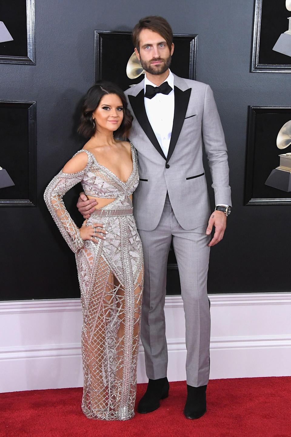 """<h1 class=""""title"""">Maren Morris in Julien Macdonald, Lorraine Schwartz jewelry and Casadei shoes and Ryan Hurd</h1><cite class=""""credit"""">Photo: Getty Images</cite>"""