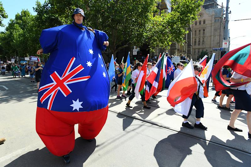 Participants take part in the Australia Day parade celebrations in Melbourne.