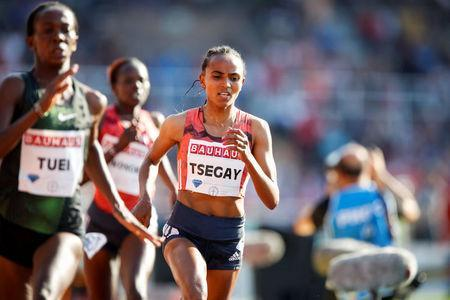 IAAF Athletics Diamond League - Women's 1500m - Stockholm Stadium, Stockholm, Sweden - June 10, 2018 - Gudaf Tsegay of Ethiopia competes to win the women's 1500m event. TT News Agency/Soren Andersson via REUTERS