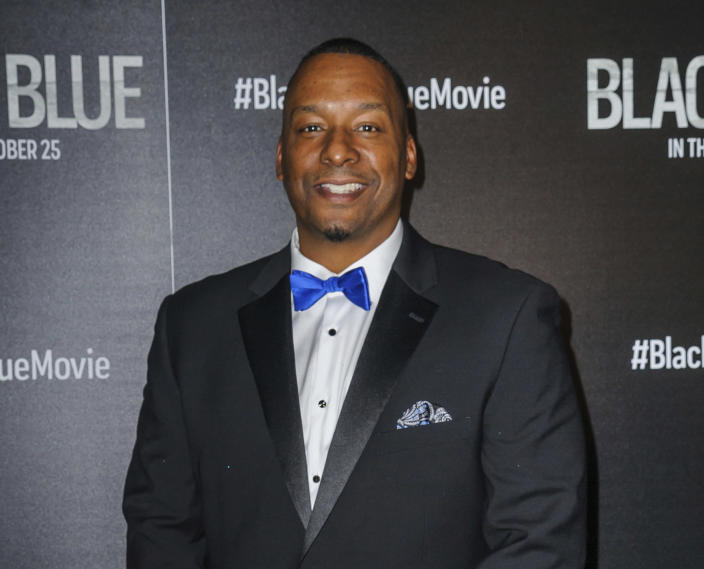 """FILE - This Oct. 21, 2019 file photo shows director Deon Taylor at a special screening of his film, """"Black and Blue"""", in New York. After making successful movies independently for 15 years, Hollywood is starting to take notice of Taylor. This year he has two major films in theaters. """"The Intruder"""" became a solid hit in May, and his police thriller """"Black and Blue"""" opens nationwide Thursday. (Photo by Christopher Smith/Invision/AP, File)"""