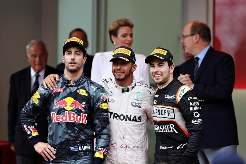 """Top three finishers, Lewis Hamilton, Mercedes AMG F1, Daniel Ricciardo, Red Bull Racing and Sergio Perez, Force India on the podium<span class=""""copyright"""">Red Bull Content Pool</span>"""