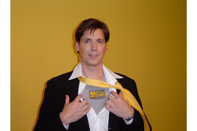 </a> Jeff Sinelli during the opening of the first Which Wich in 2003. Sinelli's signature brown paper bag was inspired by the school lunch his mother would pack for him in a brown sack with his name on it.Photo: Courtesy of Which Wich