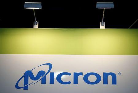 The logo of U.S. memory chip maker MicronTechnology is pictured at their booth at an industrial fair in Frankfurt