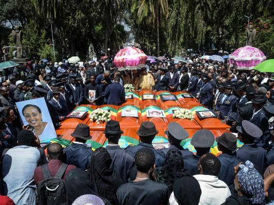 Coffins of victims of the crashed accident of Ethiopian Airlines are gathered during the mass funeral at Holy Trinity Cathedral in Addis Ababa, Ethiopia, on 17 March 2019. (AFP/Getty Images)