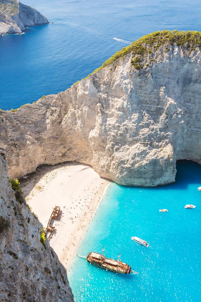 <p>Located in a remote cove on Zakynthos in Greece's Ionian Islands, Navagio Beach gets its nickname - Shipwreck Beach - because of the ship that ran aground here in the 1980's.</p>