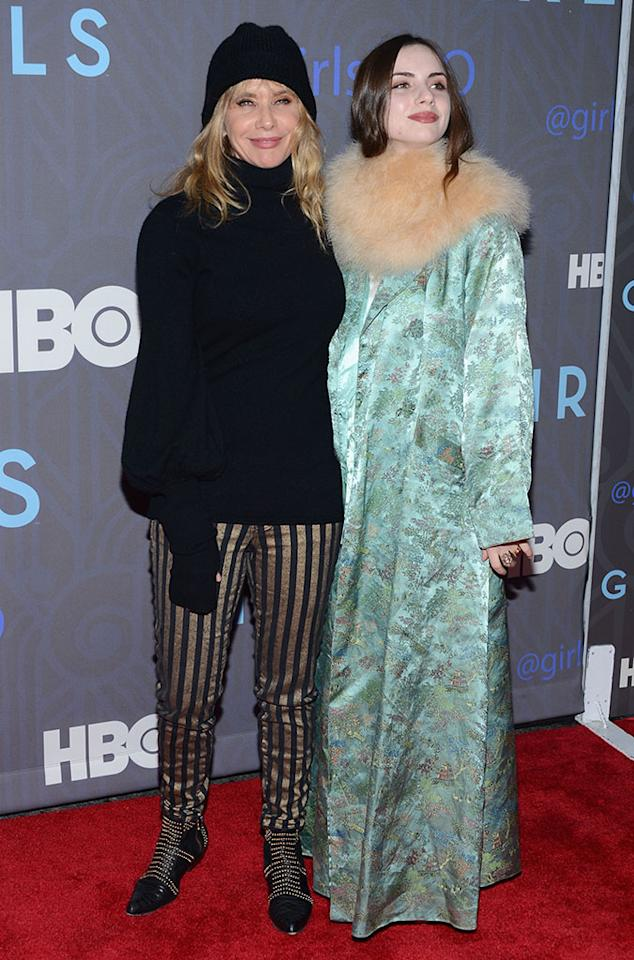 "Rosanna Arquette and Zoe Blue Sidel attend HBO's premiere of ""Girls"" Season 2 at the NYU Skirball Center on January 9, 2013 in New York City."