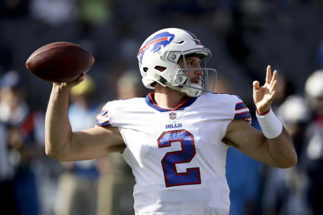 "<a class=""link rapid-noclick-resp"" href=""/nfl/players/30284/"" data-ylk=""slk:Nathan Peterman"">Nathan Peterman</a> wasn't ready for prime time Sunday (AP Photo/Jae C. Hong)"