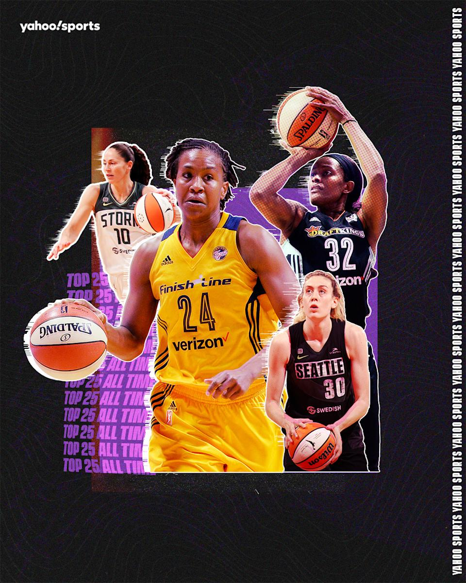 Clockwise from top left, Sue Bird, Tamika Catchings, Swin Cash and Breanna Stewart are nominated for the W25 list. (Graphic by Erick Parra Monroy/Yahoo Sports)