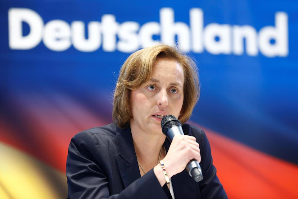 Member of the European Parliament Beatrix von Storch speaks at a press conference of the Germany's far-right Alternative for Deutschland (AfD) party in Berlin. (REUTERS/Hannibal Hanschke)