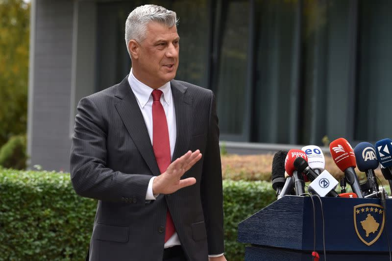 Kosovo's President Thaci is pictured during news conference as he resigns to face war crimes charges, in Pristina