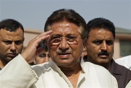 Pakistan's former President Musharraf salutes as he arrives to unveil his party manifesto for the forthcoming general election at his residence in Islamabad
