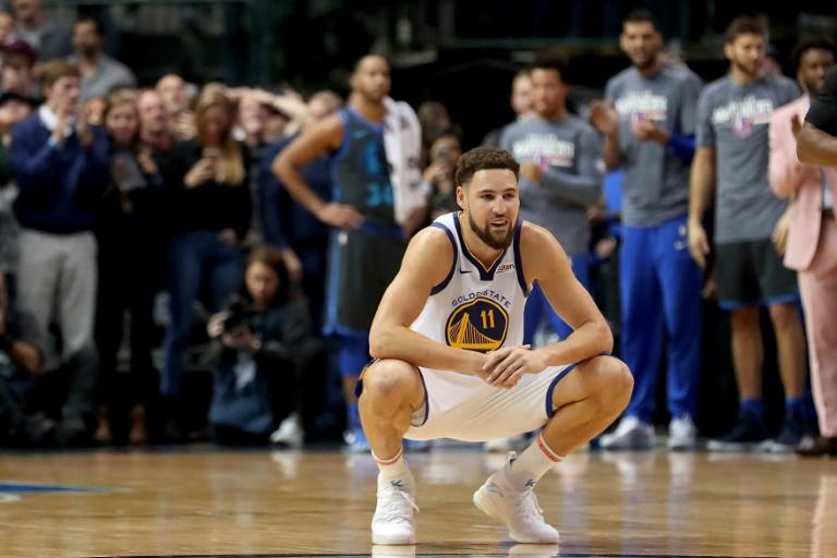 Golden State's Klay Thompson reacts to a call in the final seconds of a 109-112 NBA loss to the Dallas Mavericks