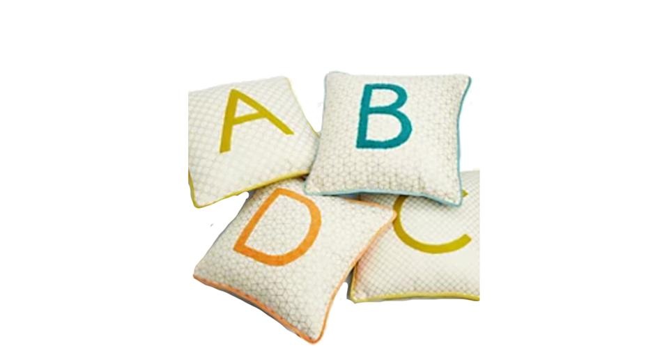 Pure Cotton Alphabet Embroidered Cushion