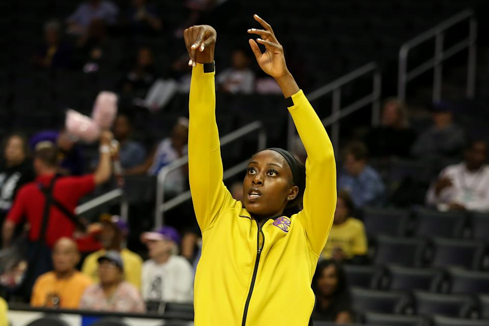 LOS ANGELES, CA - AUGUST 20: Los Angeles Sparks forward Chiney Ogwumike #13 before the Minnesota Lynx vs Los Angeles Sparks game on August 20, 2019, at Staples Center in Los Angeles, CA. (Photo by Jevone Moore/Icon Sportswire via Getty Images)