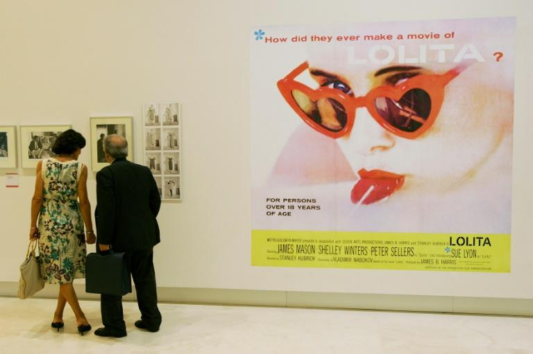 This file photo taken on October 4, 2007 at Rome's Palazzo delle Esposizioni shows the iconic poster for Stanley Kubrick's 'Lolita,' starring Sue Lyon and James Mason