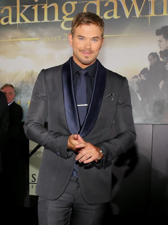 "Kellan Lutz arrives at the premiere of Summit Entertainment's ""The Twilight Saga: Breaking Dawn - Part 2"" at Nokia Theatre L.A. Live on November 12, 2012 in Los Angeles, California.  (Photo by Christopher Polk/Getty Images)"