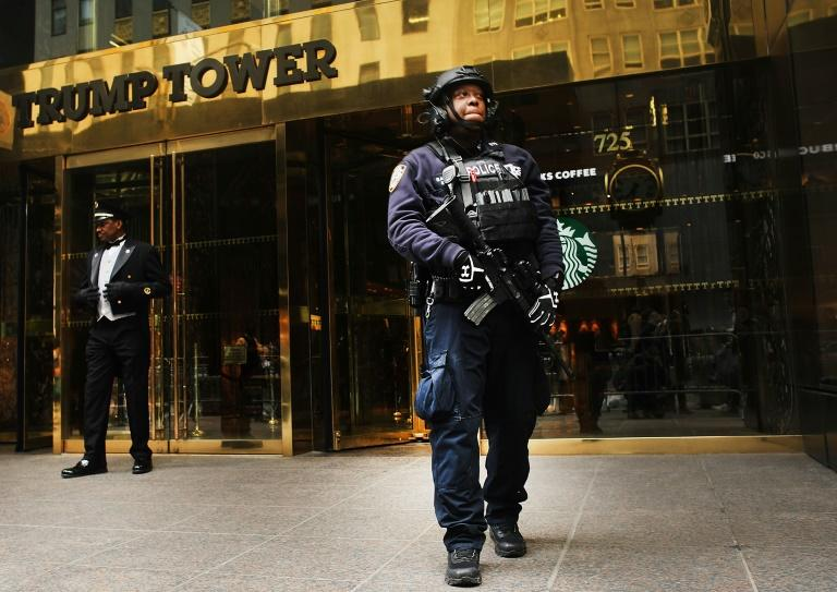 Counter terrorism officers stand in front of Trump Tower in Manhattan on March 20, 2017 in New York City
