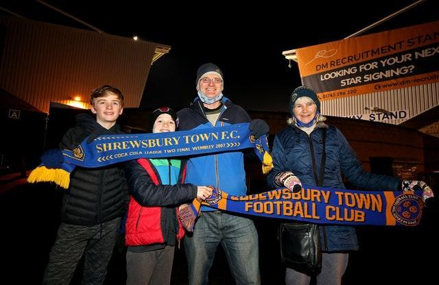 Shrewsbury supporter Paul Williams attended the game with his mother and two sons